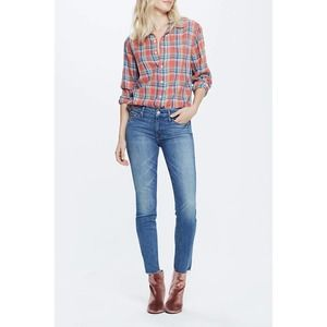 Mother Looker Ankle Fray High Rise Skinny Jeans